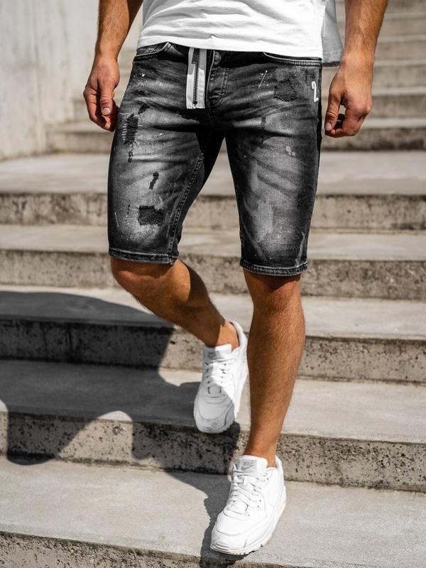 Bolf Herren Kurze Jeanshose Schwarz  3003