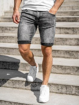 Bolf Herren Kurze Jeanshose Schwarz  KG3806