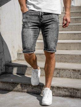 Bolf Herren Kurze Jeanshose Schwarz  KR1257