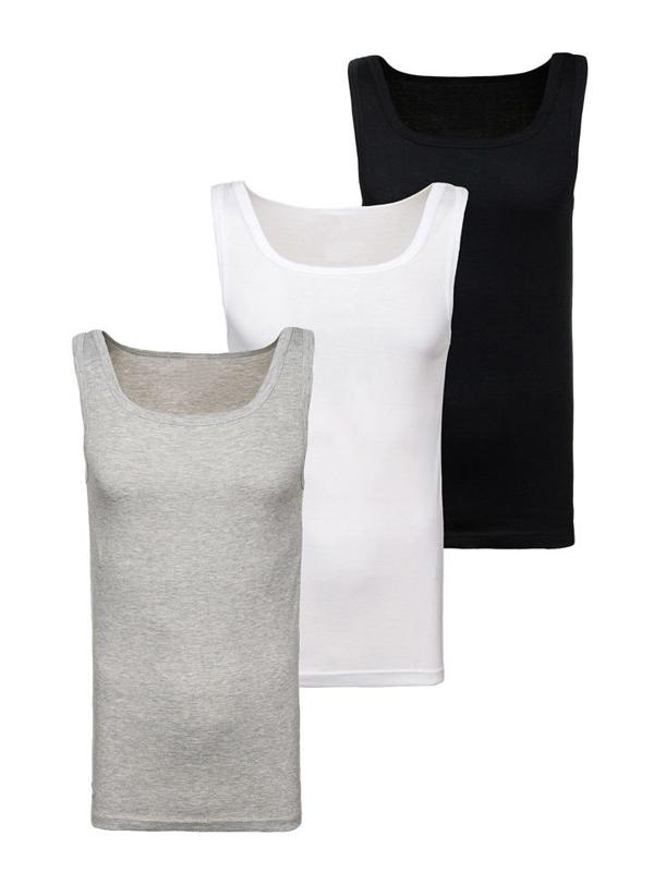 Bolf Herren Unterhemd Mehrfarbig 3 Pack  C10008-3P