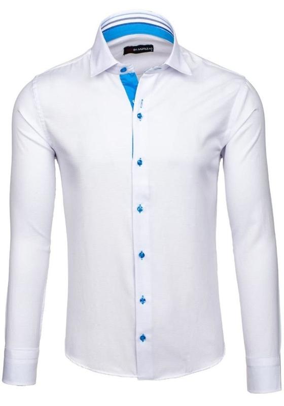 Bolf Herrenhemd Elegant Langarm Weiß 6923