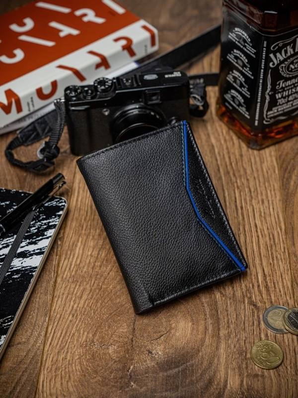 Herren Leder Geldbörse Schwarz Blau 2058