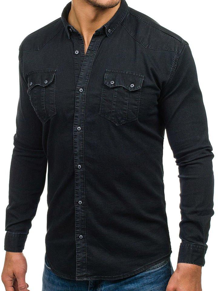 bolf herren jeanshemd langarm schwarz 2052. Black Bedroom Furniture Sets. Home Design Ideas