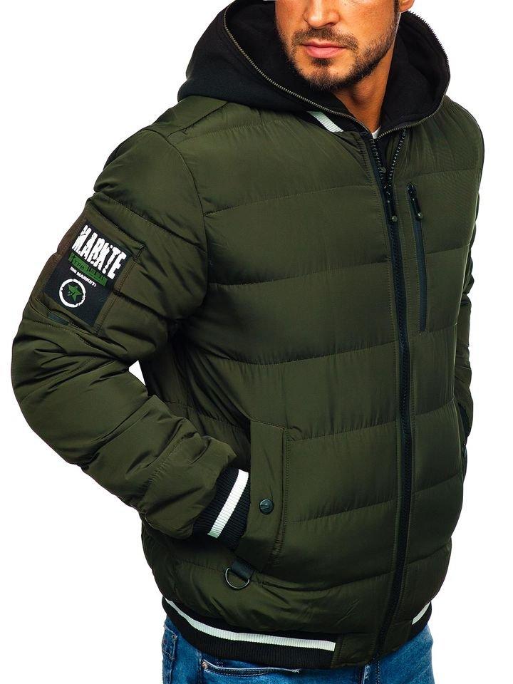 Bolf Herren Winterjacke Bomberjacke Khaki 5892