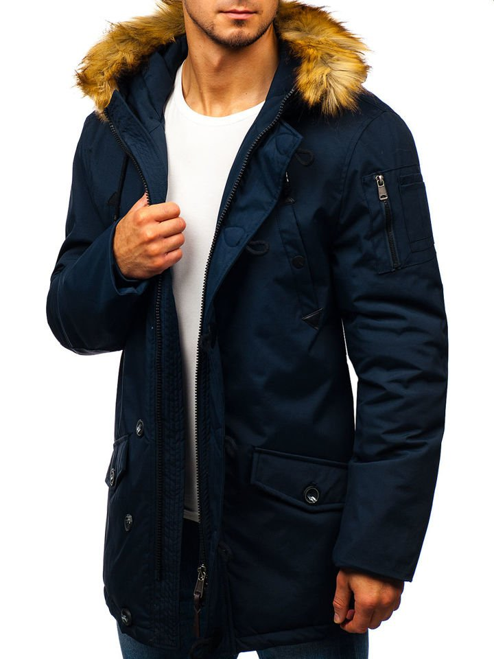 sports shoes df870 6c3d3 Bolf Herren Winterjacke Parka Dunkelblau 1788