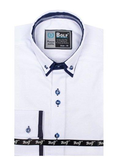 Biała koszula męska elegancka z długim rękawem Bolf 5805