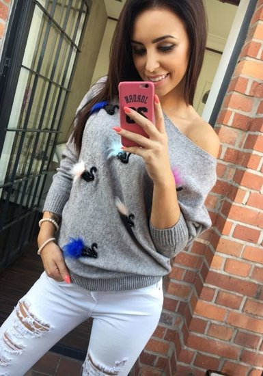 Bolf Damen Pullover Grau  644