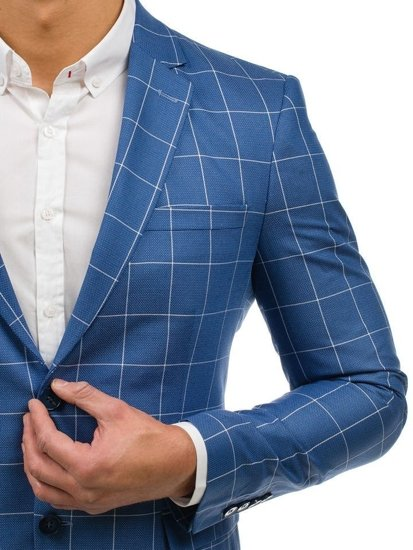 Bolf Herren Anzug Kariert Blau  2000K