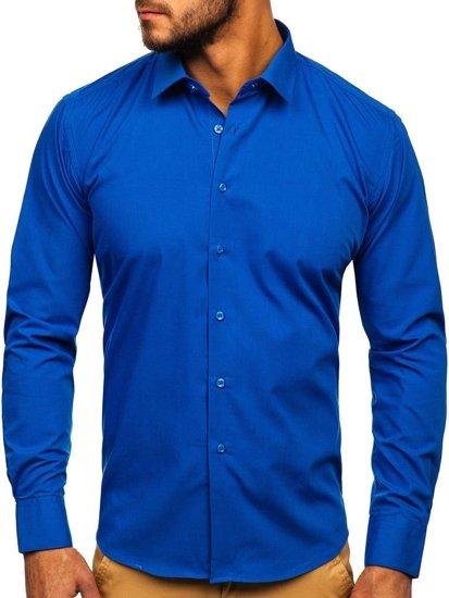 Bolf Herren Hemd Elegant Langarm Mittelblau  0001