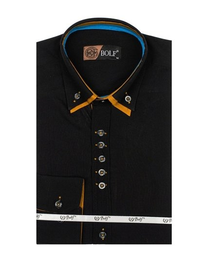 Bolf Herren Hemd Elegant Langarm Schwarz  3708