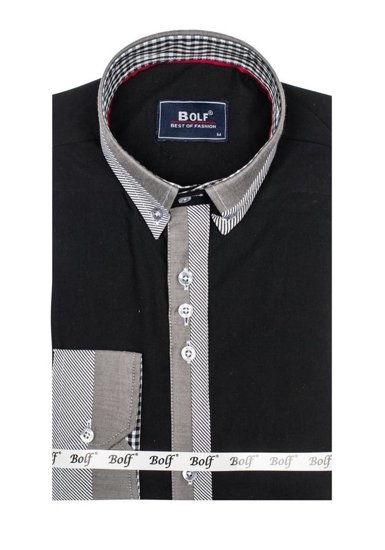Bolf Herren Hemd Elegant Langarm Schwarz  6950