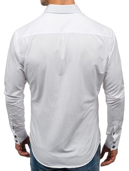 Bolf Herren Hemd Elegant Langarm Weiß  1721-A