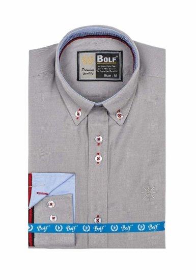 check out 6b913 22fb9 Bolf Herren Hemd Langarm Elegant Grau 5801