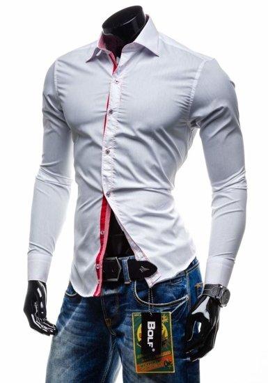 Bolf Herren Hemd Langarm Elegant Weiß 3760