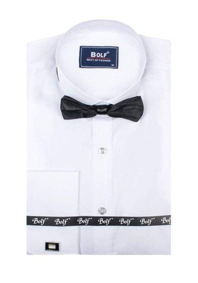 Bolf Herren Hemd Langarm Elegant Weiß + Fliege + Manschettenknöpfe 4702