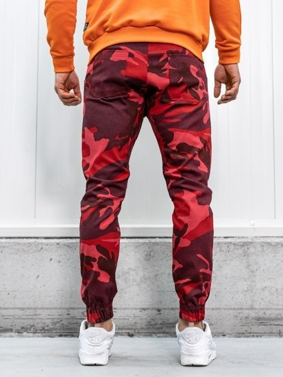 Bolf Herren Hose Jogger Camo-Rot 0367
