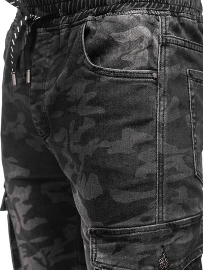 Bolf Herren Jogger Pants Cargohose Camo Schwarz  RB9491DT
