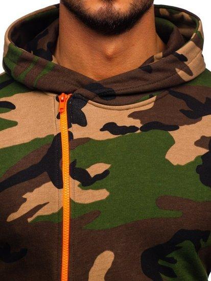 Bolf Herren Kapuzenpullover mit Motiv Camo-Khaki  01