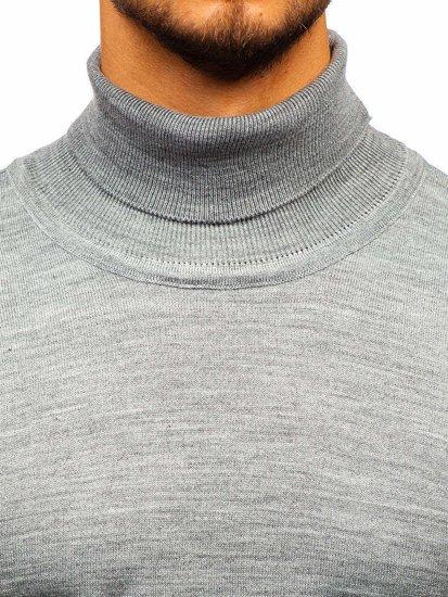 Bolf Herren Pullover Rollkragen Grau  2400