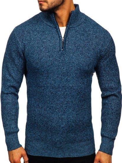 Bolf Herren Pullover mit Stehkragen Blau H1936