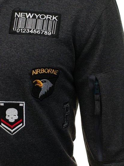Bolf Herren Sweatshirt ohne Kapuze Anthrazit 0736