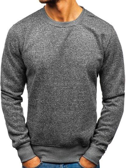 Bolf Herren Sweatshirt ohne Kapuze Dunkelgrau  BO-01