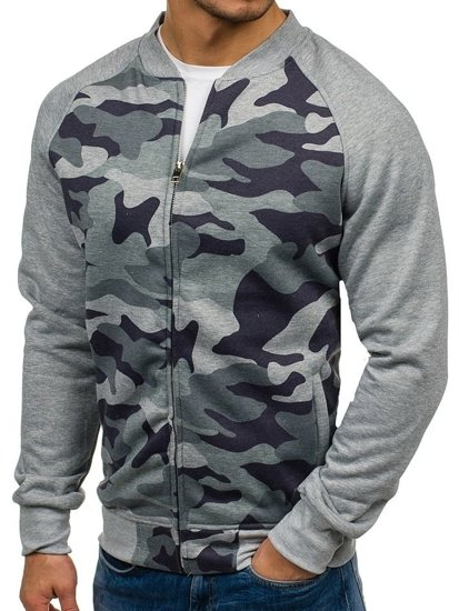 Bolf Herren Sweatshirt ohne Kapuze Camo-Grau  2538A
