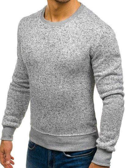 Bolf Herren Sweatshirt ohne Kapuze Hellgrau  BO-01