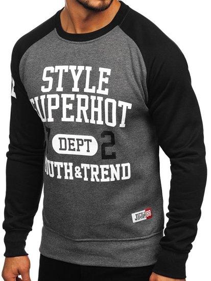Bolf Herren Sweatshirt ohne Kapuze Schwarz-Anthrazit  J09