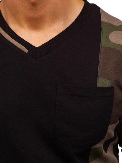 Bolf Herren Sweatshirt ohne Kapuze Schwarz-Grün 0744