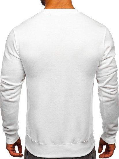 Bolf Herren Sweatshirt ohne Kapuze Weiß  2001