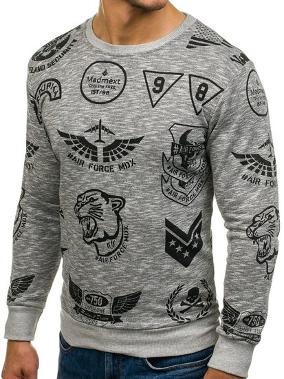 Bolf Herren Sweatshirt ohne Kapuze mit Motiv Grau  1717