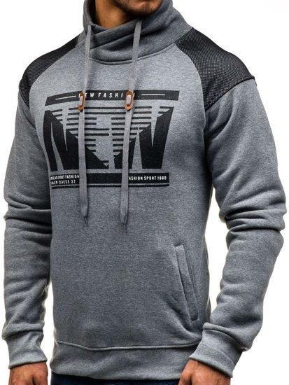 Bolf Herren Sweatshirt ohne Kapuze mit Motiv Grau  8153