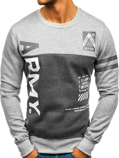 Bolf Herren Sweatshirt ohne Kapuze mit Motiv Grau-Anthrazit  J45