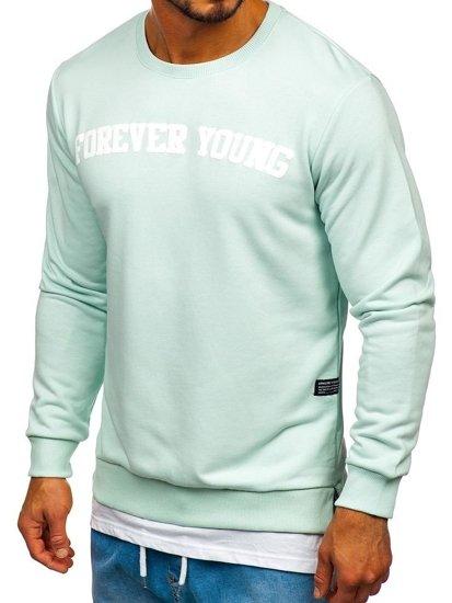 Bolf Herren Sweatshirt ohne Kapuze mit Motiv Mintgrün  11116