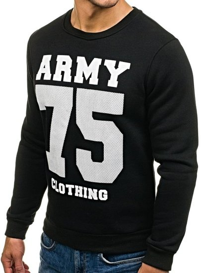 Bolf Herren Sweatshirt ohne Kapuze mit Motiv Schwarz 0593