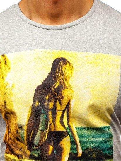 Bolf Herren T-Shirt Hellgrau 7434