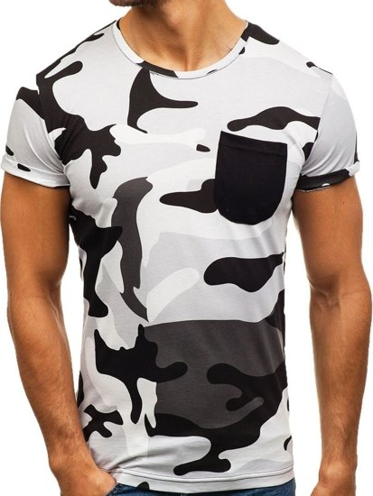 Bolf Herren T-Shirt mit Motiv Camo-Grau 1026