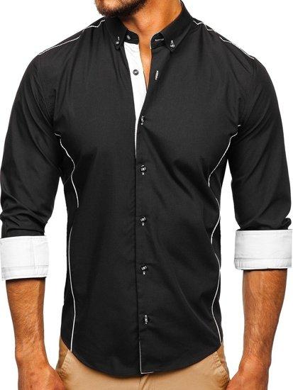 Bolf Herrenhemd Elegant Langarm Schwarz 5722