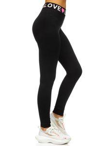 Bolf Damen Leggings mit Motiv Schwarz-Rosa  82352