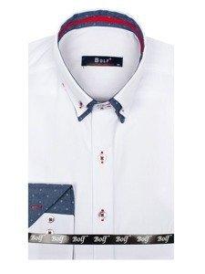 Bolf Herren Hemd Langarm Elegant Weiß 6965