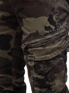 Bolf Herren Jogger Pants Cargohose mit Gürtel Camo Grün  CT6013