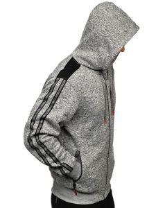 Bolf Herren Kapuzenpullover mit Reißverschluss Grau  TC960