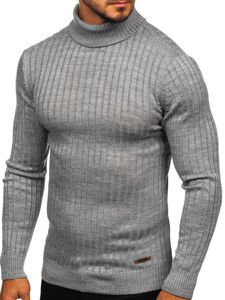 Bolf Herren Pullover Rollkragen Grau  3070