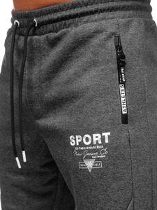 Bolf Herren Sporthose Schwarzgrau-Weiß  Q1042