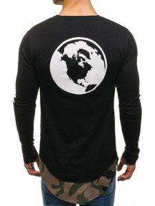 Bolf Herren Sweatshirt mit Motiv Schwarz-Grün 0778