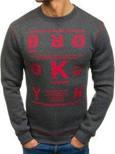 Bolf Herren Sweatshirt ohne Kapuze Anthrazit 0530-1