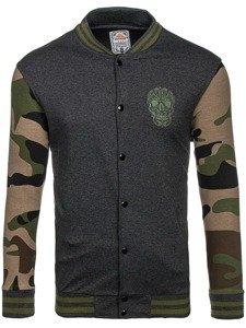 Bolf Herren Sweatshirt ohne Kapuze Dunkelgrau-Grün 0844