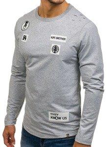 Bolf Herren Sweatshirt ohne Kapuze Grau 0745