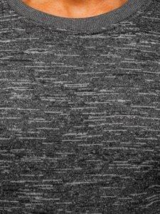 Bolf Herren Sweatshirt ohne Kapuze Grau  2001-4